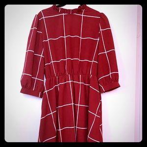 Red grid grill trim keyhole back midi dress